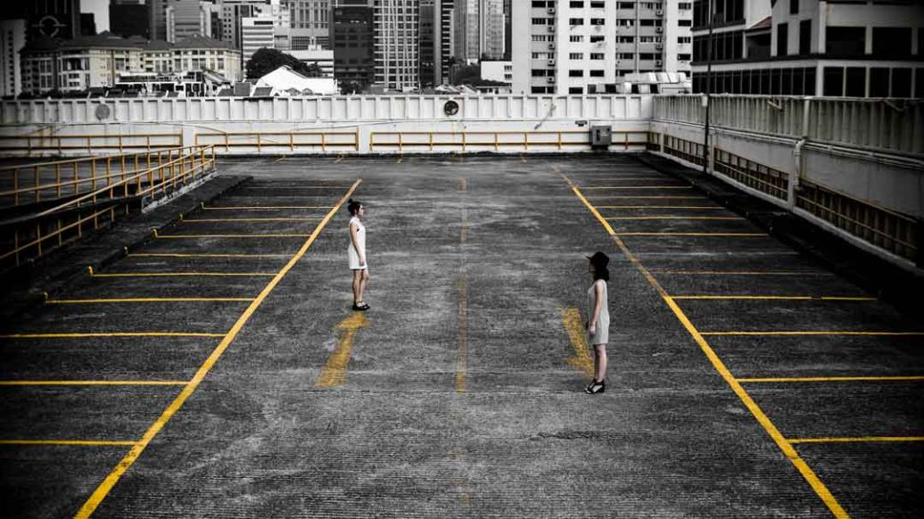 No-F.E.A.R-Negotiations-fear-losing-women facing in parking lot by-heng-films