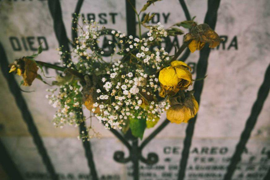 live-your-life-by negotiating-your-death-flowers left on a gate